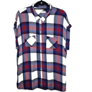 BeachLunchLounge | Rolled Sleeve Plaid Top (0023)